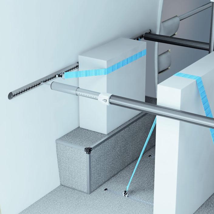 VANYCARE®-Komplettausstattung incl. Ladungssicherungssystem mit Sperrstange, Zurrschienen und Gurten.